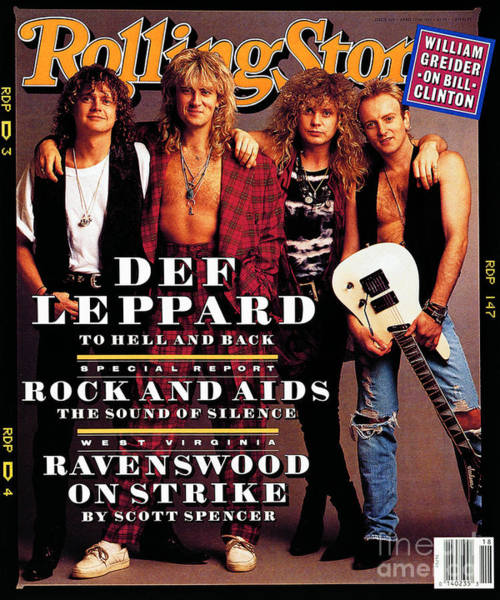 Wall Art - Photograph - Rolling Stone Cover - Volume #629 - 4/30/1992 - Def Leppard by Mark Seliger