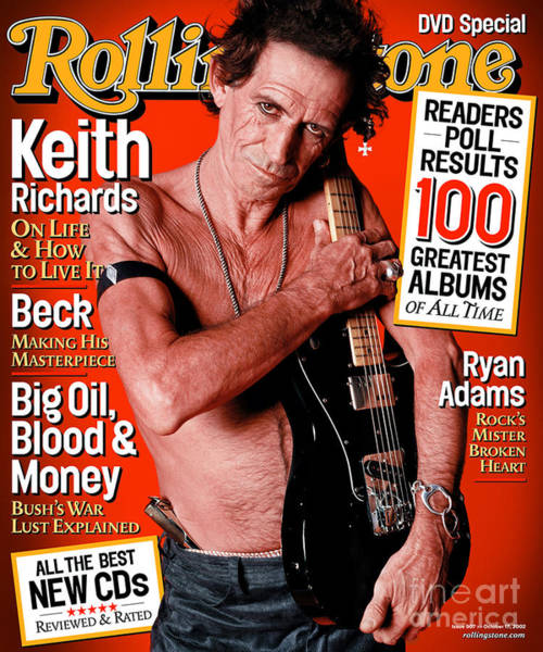 Richard Photograph - Rolling Stone Cover - Volume #907 - 10/17/2002 - Keith Richards by Sante D'Orazio