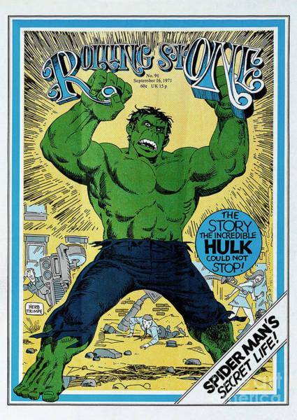 Incredible Wall Art - Photograph - Rolling Stone Cover - Volume #91 - 9/16/1971 - The Incredible Hulk by Herb Trimpe