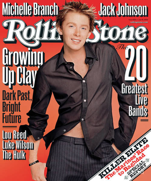 Clay Photograph - Rolling Stone Cover - Volume #926 - 7/10/2003 - Clay Aiken by Matthew Rolston