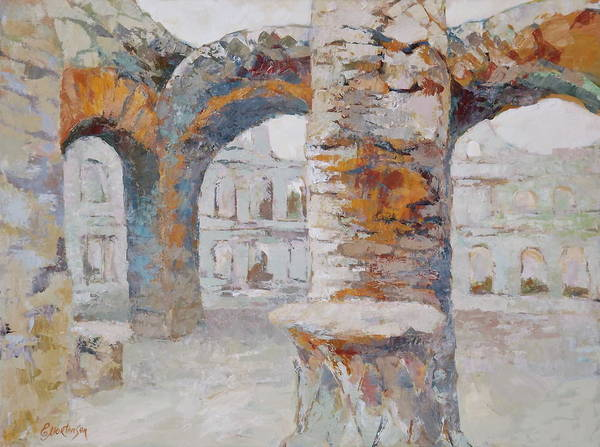 Wall Art - Painting - Roman Relicts Arches by Ekaterina Mortensen