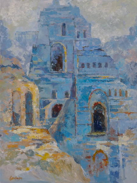 Wall Art - Painting - Roman Relicts In Blue by Ekaterina Mortensen