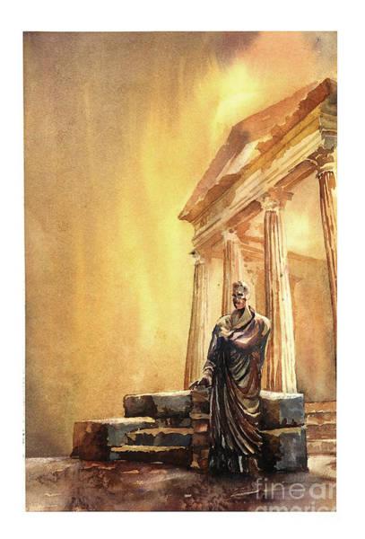 World Heritage Site Painting - Roman Statue- Tunisia by Ryan Fox