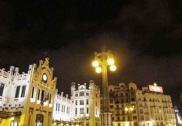 Photograph - Romantic Valencia Side Street Lights At Night II Spain by John Shiron