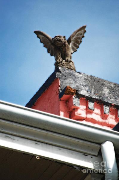 Gargoyle Digital Art - Rooftop Chained Gargoyle Statue Above French Quarter New Orleans Diffuse Glow Digital Art by Shawn O'Brien