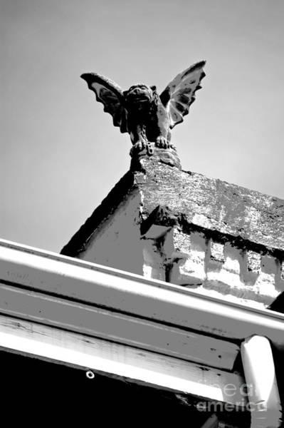 Gargoyle Digital Art - Rooftop Gargoyle Statue Above French Quarter New Orleans Black And White Conte Crayon Digital Art by Shawn O'Brien