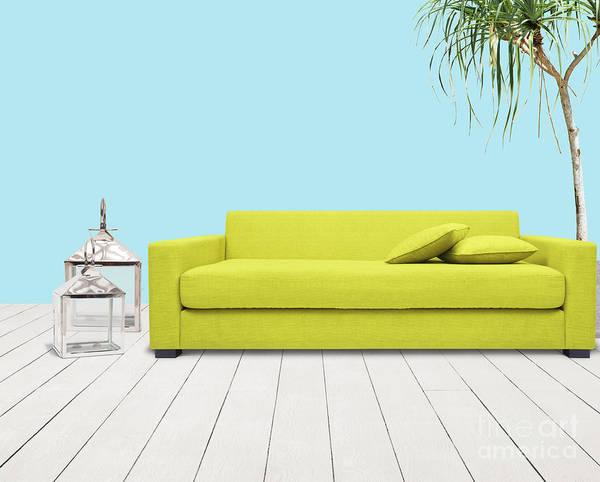 Chair Mixed Media - Room With Green Sofa by Atiketta Sangasaeng