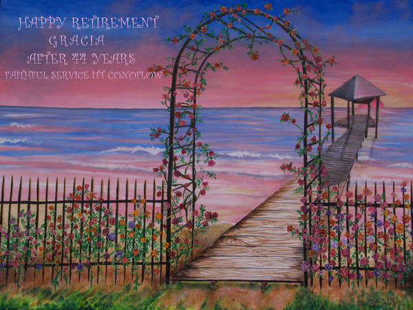 Rose Trellis Retirement Art Print