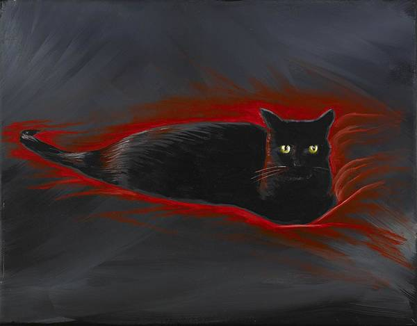 Wall Art - Painting - Rosemary Our Cat by David Junod