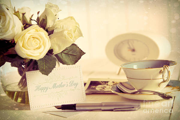 Wall Art - Photograph - Roses And Note Card For Mother's Day by Sandra Cunningham