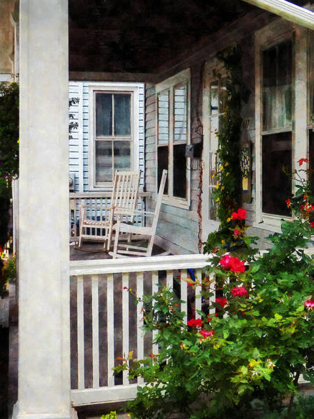 Photograph - Roses And Rocking Chairs by Susan Savad