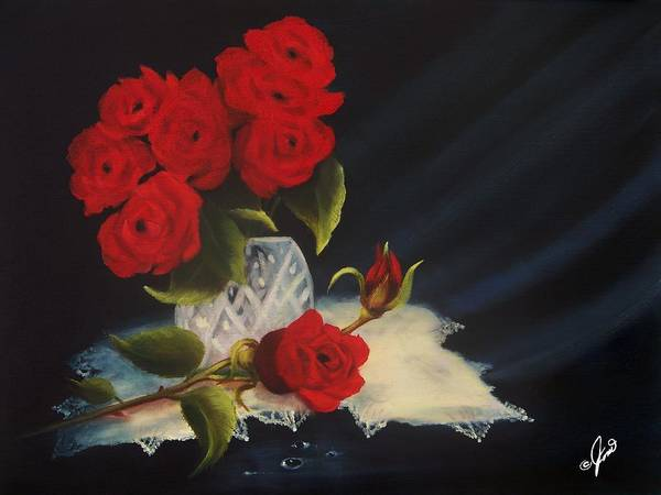 Painting - Roses Crystal And Lace by Joni McPherson