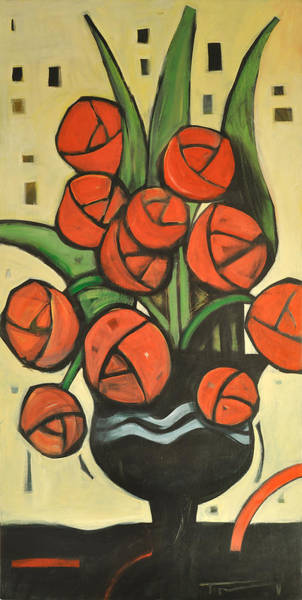Painting - Roses In Vase by Tim Nyberg