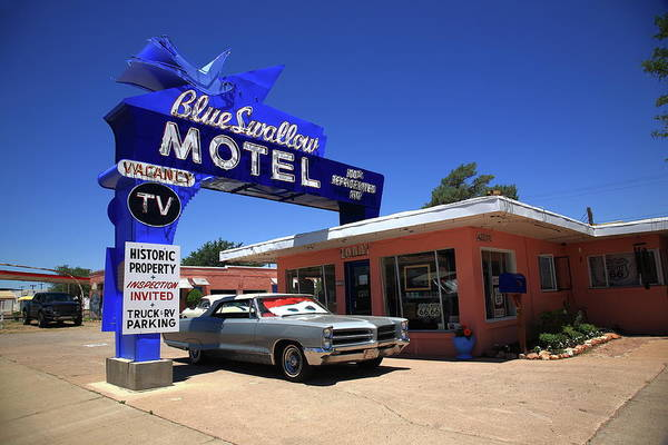 Photograph - Route 66 - Blue Swallow Motel 2012 Bw by Frank Romeo