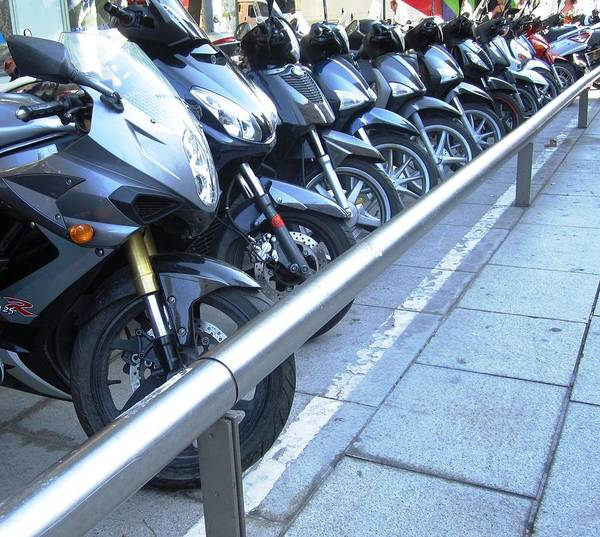 Photograph - Row Of Bikes Or Motorcycles Barcelona Spain by John Shiron
