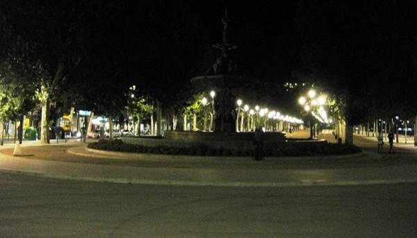 Photograph - Row Of Park Light Poles At Night Granda Spain by John Shiron