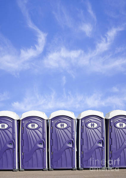 Unisex Photograph - Row Of Portable Plastic Toilets by Dave & Les Jacobs