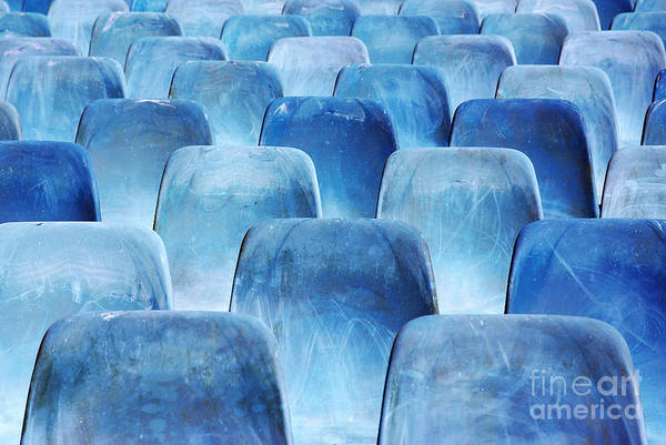 Amphitheater Wall Art - Photograph - Rows Of Blue Chairs by Carlos Caetano