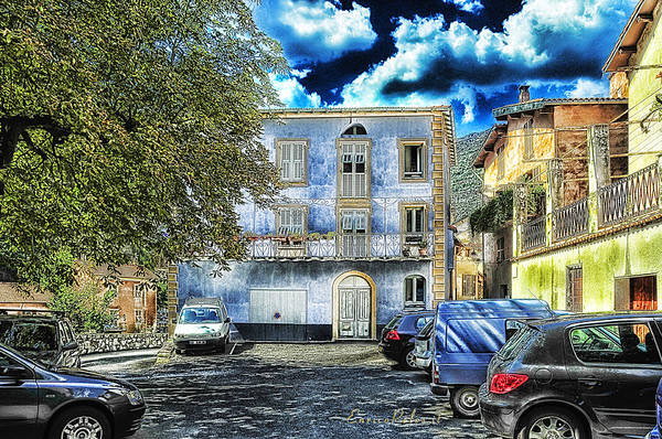 Photograph - Roya Valley Breil Sur Roya The Blue House by Enrico Pelos