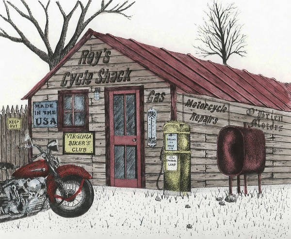 Pump Drawing - Roy's Cycle Shack by Mike OBrien