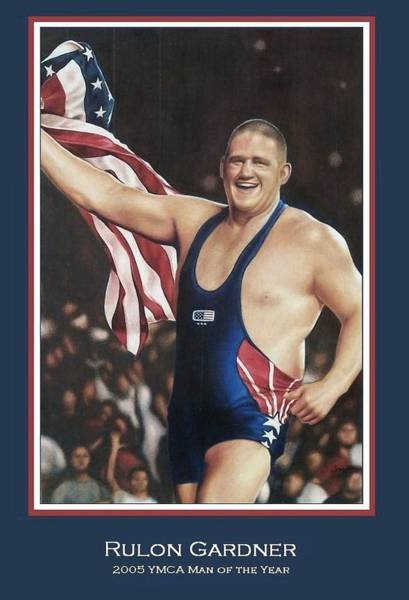 Gold Medal Drawing - Rulon Gardner by Cory McKee