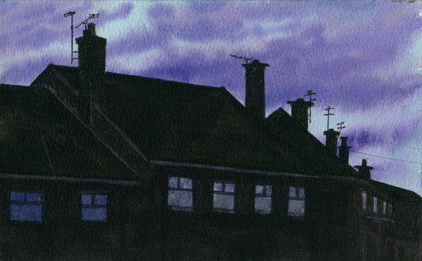 Ashes Painting - Runcorn Rooftops by Arthur Barnes