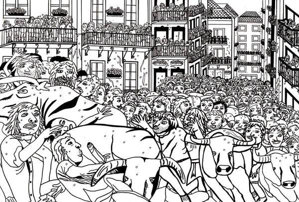 Wall Art - Drawing - Running Of The Bulls 3 by Karen Elzinga