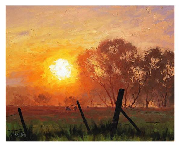 Gercken Painting - Rural Sunrise by Graham Gercken