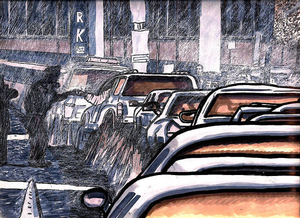 Car Accident Painting - Rush Hour Approach To Midtown Tunnel Nyc by Al Goldfarb