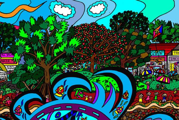 Wall Art - Drawing - Rushing Wave by Karen Elzinga