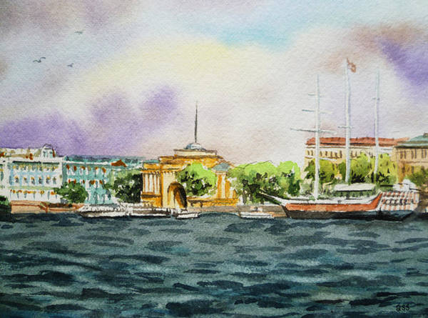 Painting - Russia Saint Petersburg Neva River by Irina Sztukowski