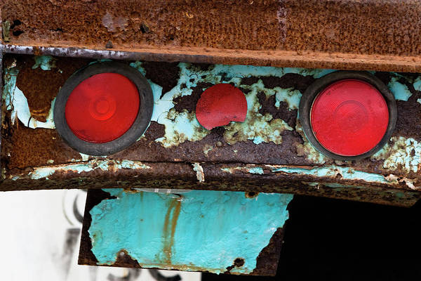 Photograph - Rusted Blue Taillight by Lorraine Devon Wilke