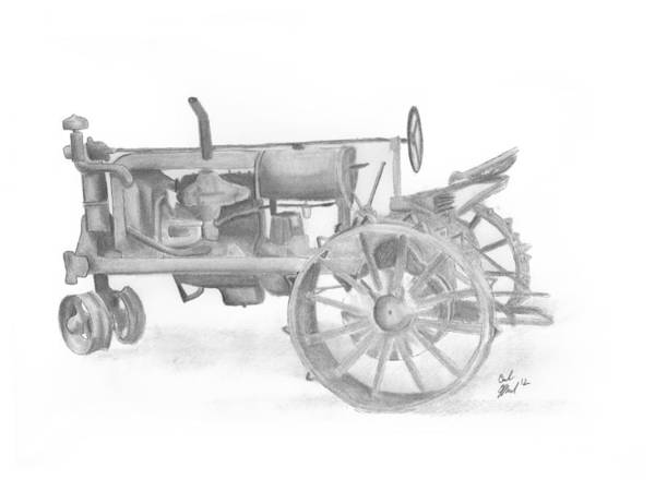 Old Tractor Drawing - Rusted Iron by Carl Muller