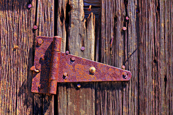 Hinges Photograph - Rusty Barn Door Hinge  by Garry Gay