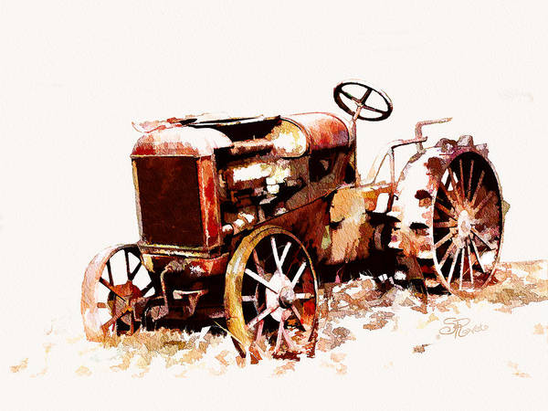 Vintage Tractor Painting - Rusty Tractor In The Snow by Suni Roveto