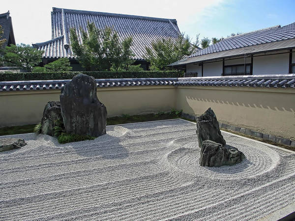 Kansai Wall Art - Photograph - Ryogen-in Raked Gravel Garden - Kyoto Japan by Daniel Hagerman