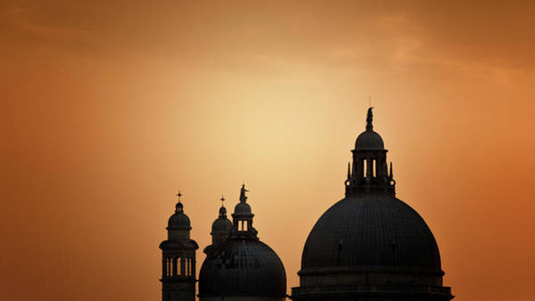Photograph - S. Maria On Orange Sky by Alfredo Montresor