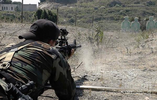 Gunfire Photograph - .s. Navy Quartermaster Fires His 5.56mm by Stocktrek Images