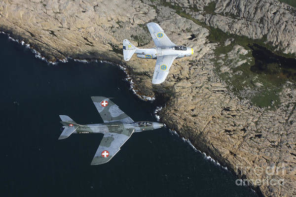 Photograph - Saab J 29 Flying Barrel And Hawker by Daniel Karlsson