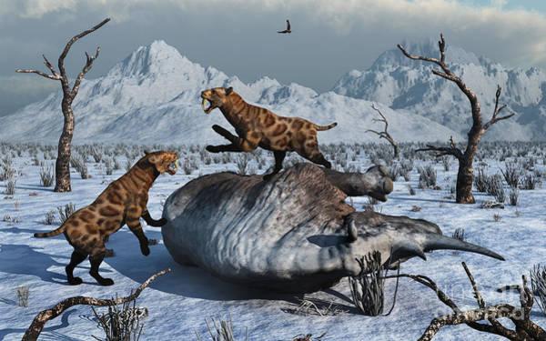 Frozen Food Digital Art - Sabre-toothed Tigers Battle by Mark Stevenson