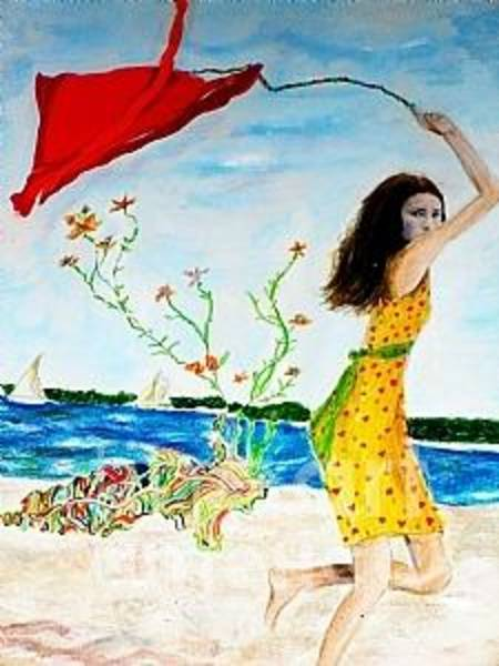 Fly A Kite Mixed Media - Sabrina's Red Kite by Beth Saffer