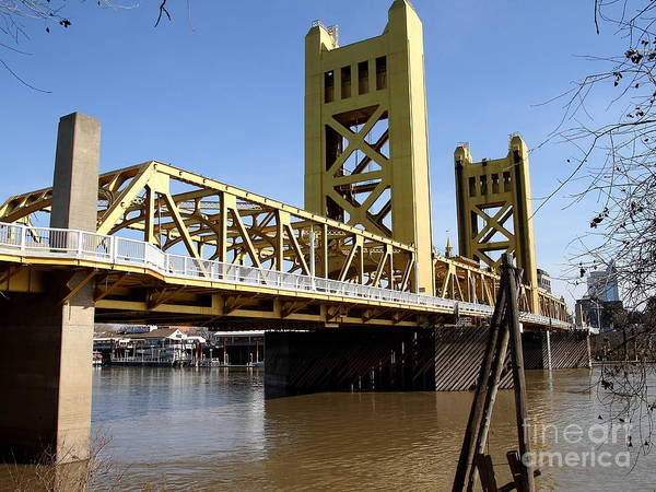 Photograph - Sacramento California Tower Bridge Crossing The Sacramento Delta River . 7d11454 by Wingsdomain Art and Photography