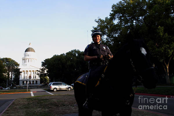 Photograph - Sacramento Police Mounted Association Horse Patrol At The California State Capitol . Spma . 7d11785 by Wingsdomain Art and Photography