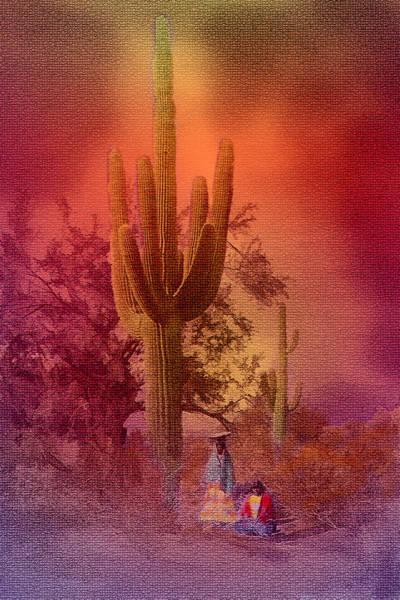 Digital Art - Saguaro Sunset Mosaic by Rick Wicker
