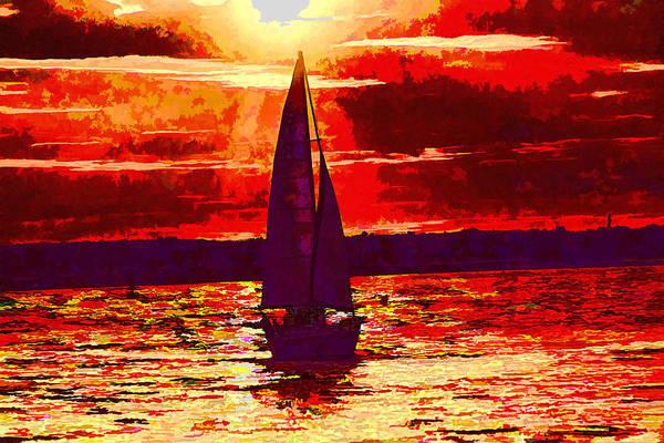 Photograph - Sailboat At Sunset by Jim Lepard