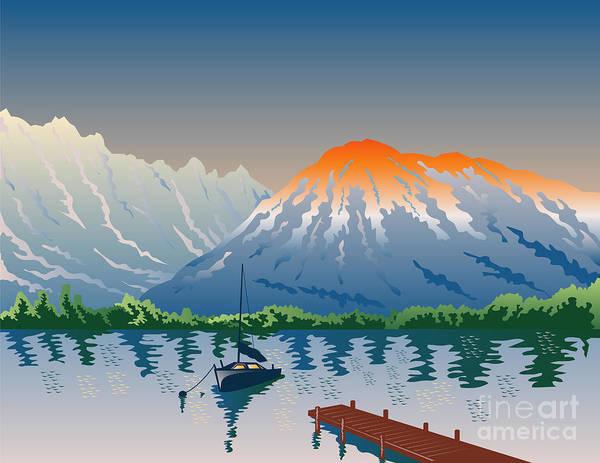 Harbor Scene Digital Art - Sailboat Jetty  Mountains Retro by Aloysius Patrimonio