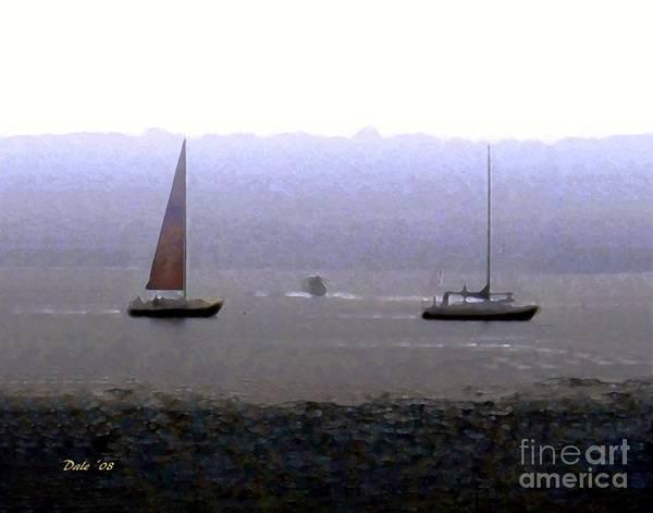 Digital Art - Sailboats In Fog by Dale   Ford