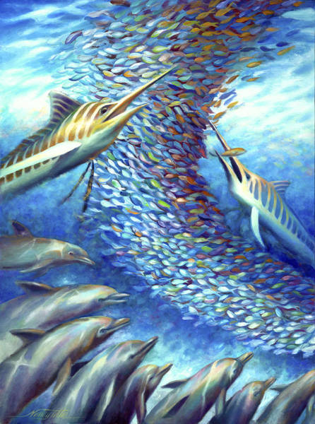 Wall Art - Painting - Sailfish Plunders Baitball I - Marlin And Dolphin by Nancy Tilles