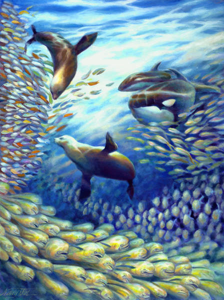 Wall Art - Painting - Sailfish Plunders Baitball IIi - Dolphin Fish Seals And Whales by Nancy Tilles