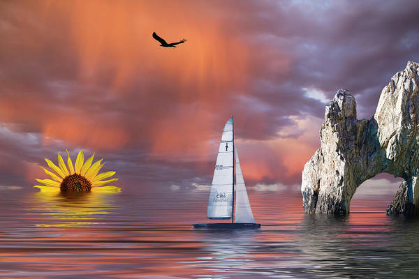 Mixed Media - Sailing At Sunset by Shane Bechler